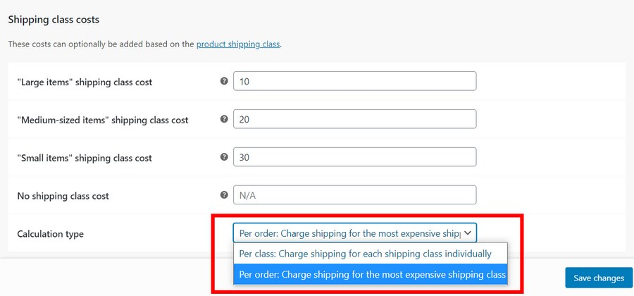 shipping class calculation type