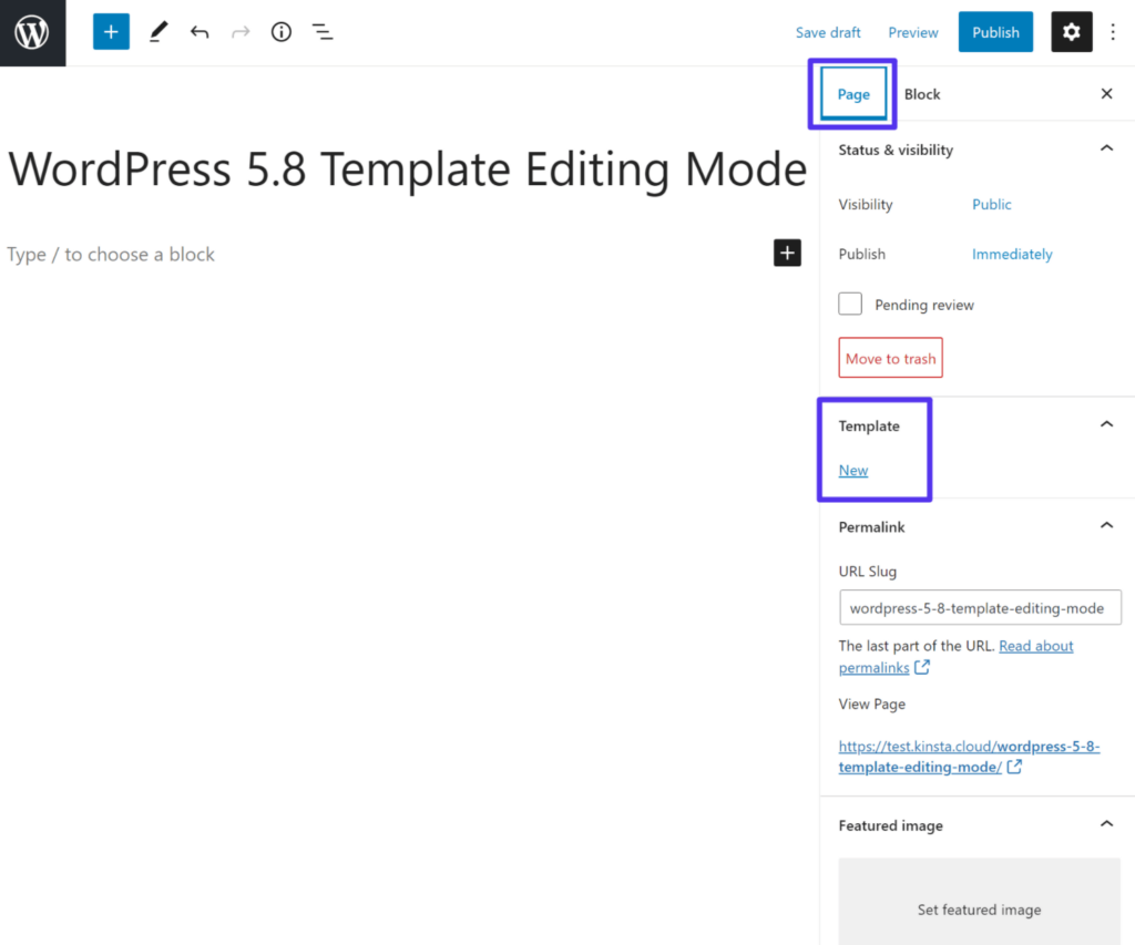 How to create a new template in themes that support template editing mode