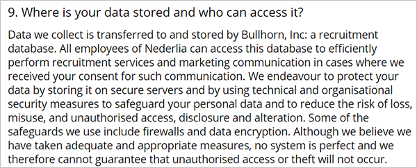 Privacy policy explaining where user data is stored.