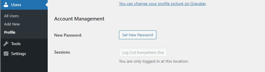A screenshot of the Users > Account Management section of WordPress, showing the