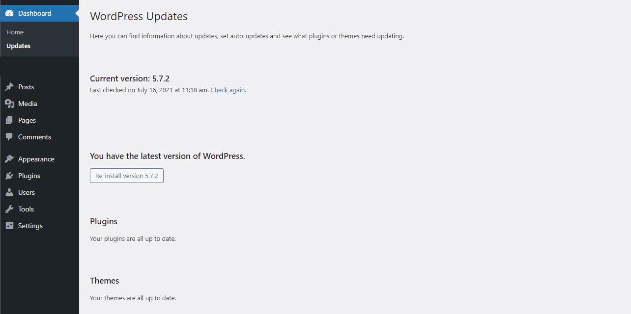 Screenshot of the WordPress Dashboard showing the
