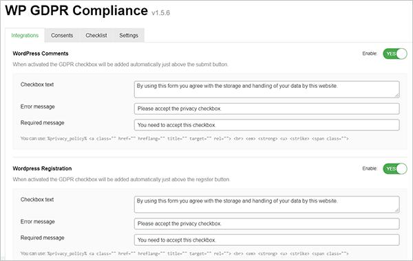 WP GDPR Compliance Plugin Settings