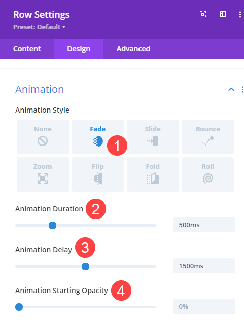 animation delay for row