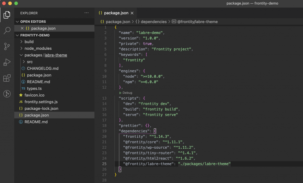 Screenshot of the package.json file open in VS Code. The left panel shows the files and the right panel displays the code.