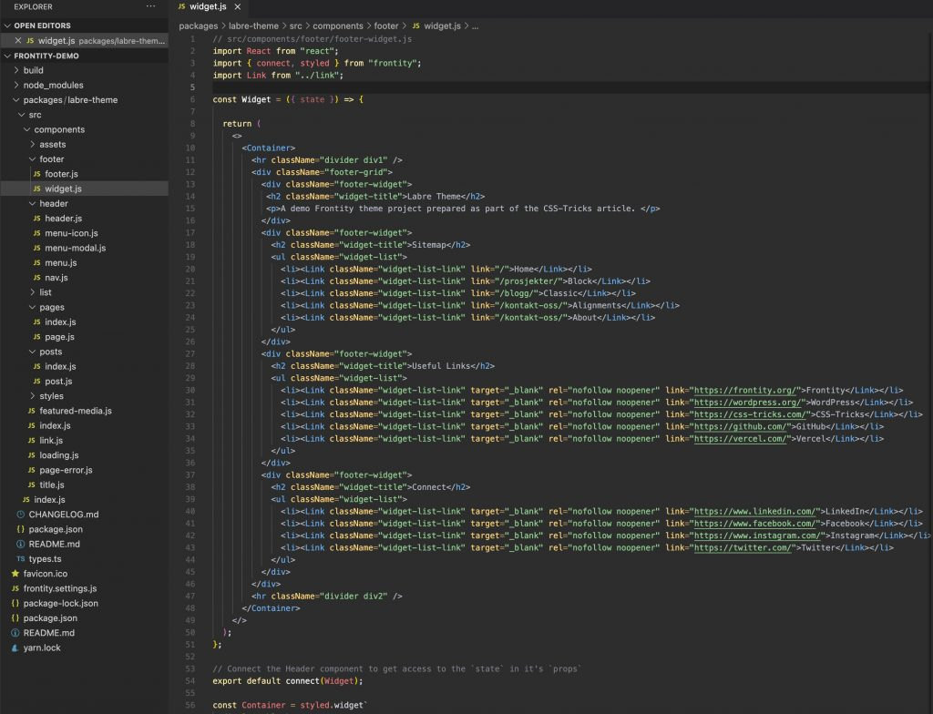 Screen shot of VS code editor open to a widget.js file that shows the syntax highlighted markup for a component.