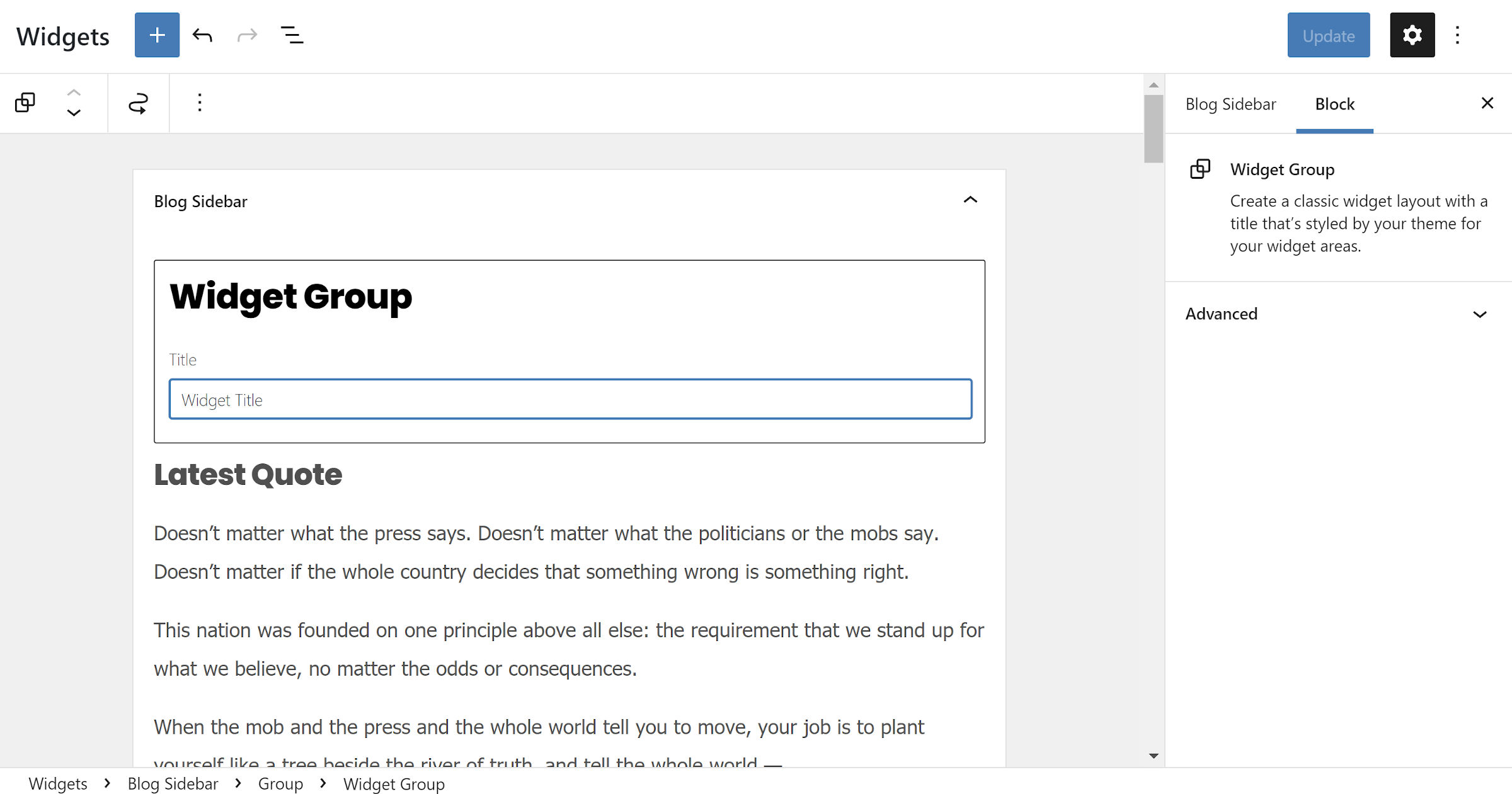 Widgets screen in the WordPress admin with the new Widget Group block shown.
