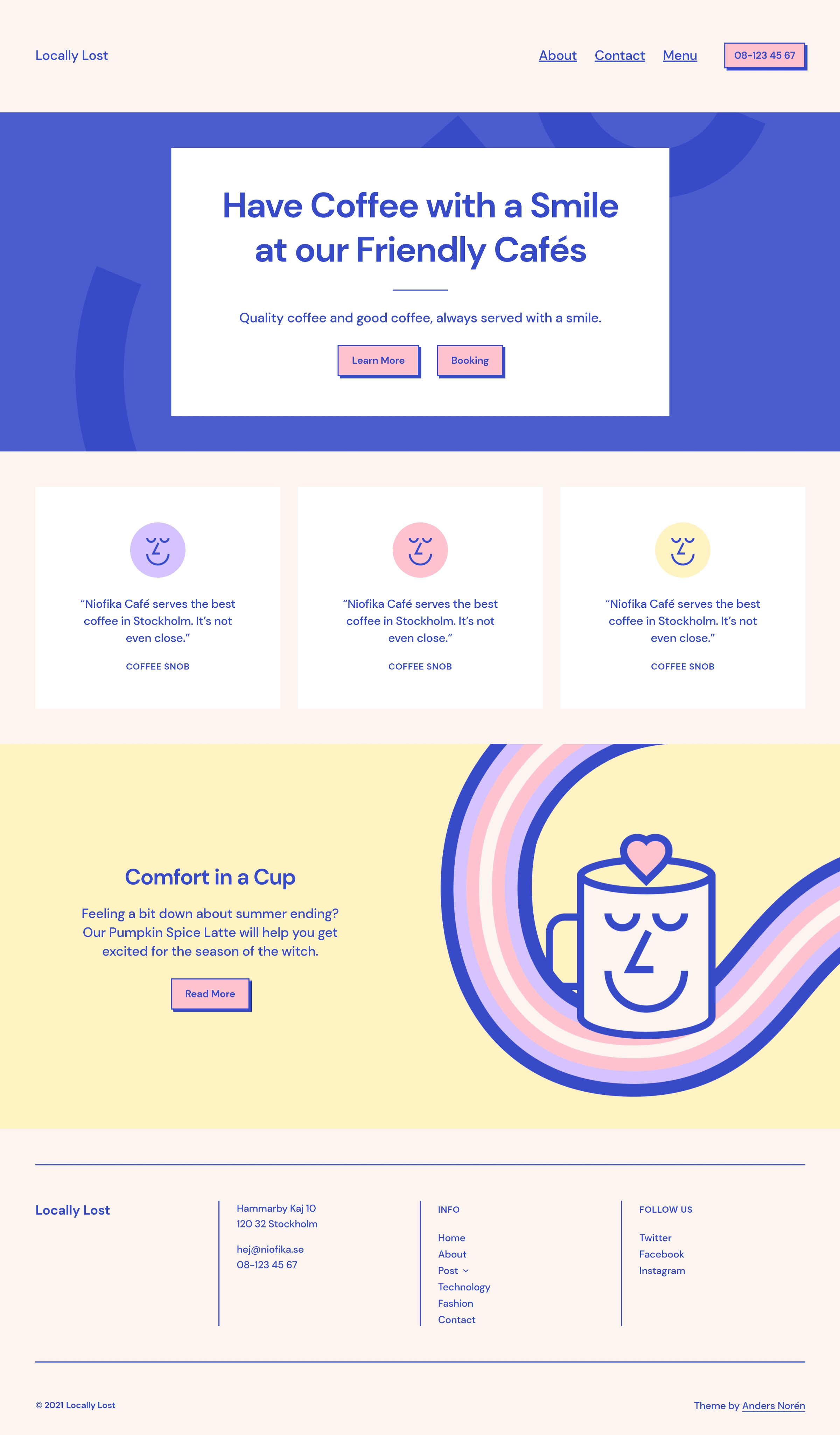 Custom-built homepage using the Tove WordPress theme for a cafe/restaurant with various sections.