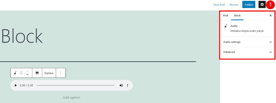 Audio Block Sidebar Settings