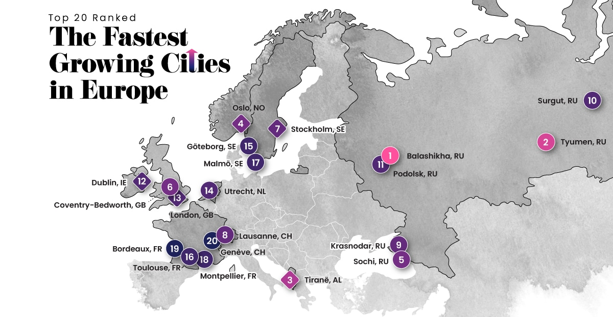 Ranked: The Fastest Growing Cities in Europe