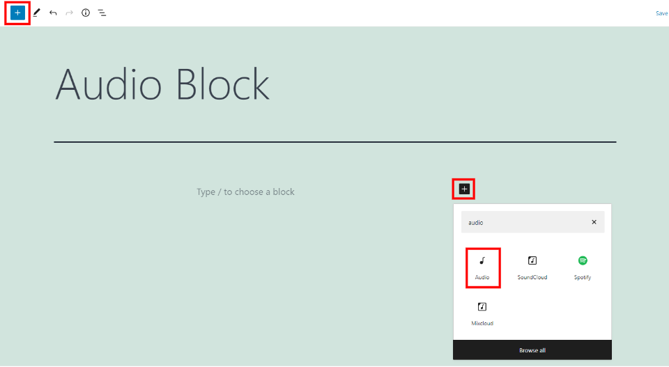 How to Add the Audio Block to your Post or Page