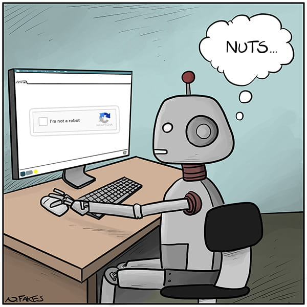 A robot trying to solve CAPTCHA.