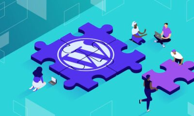 Illustration for WordPress abstraction plugins showing people gathered around a puzzle pieces with WordPress logo.
