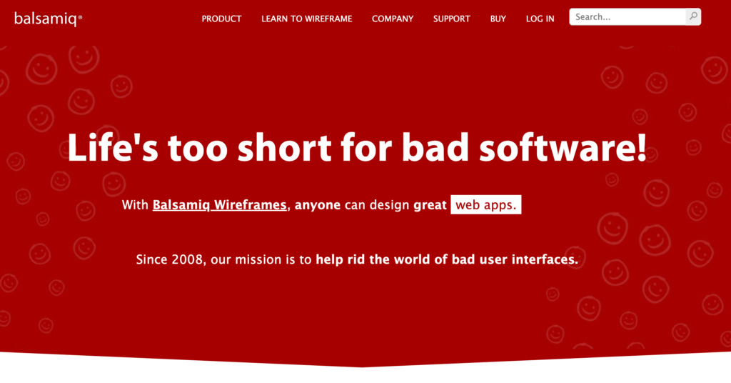 The Balsamiq homepage.