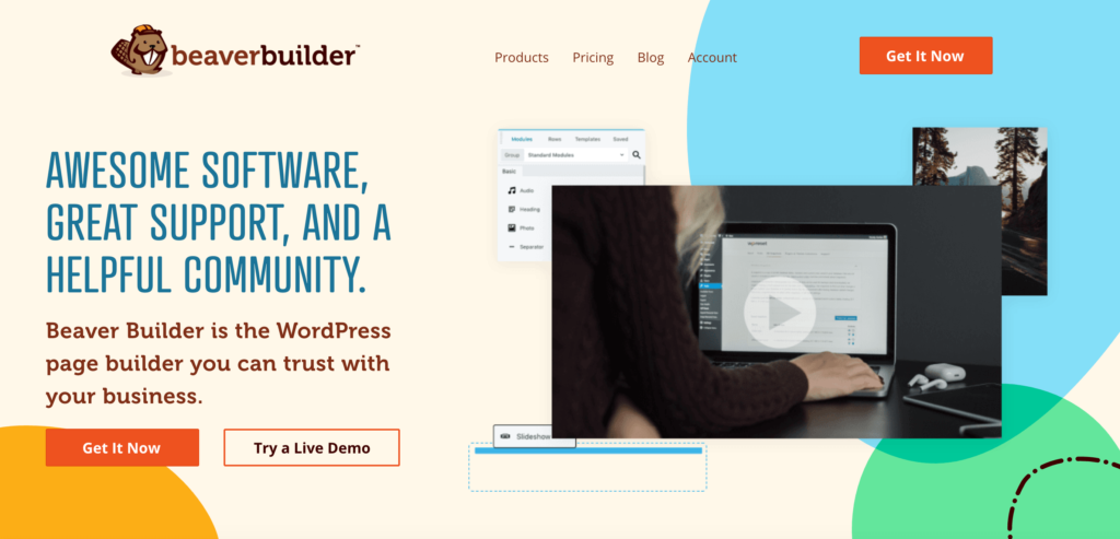 The Beaver Builder page builder.