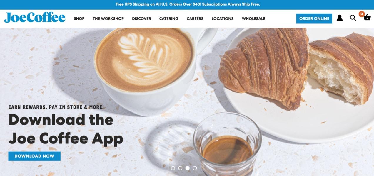 Joe Coffee slider advertising their free rewards app in just a few words