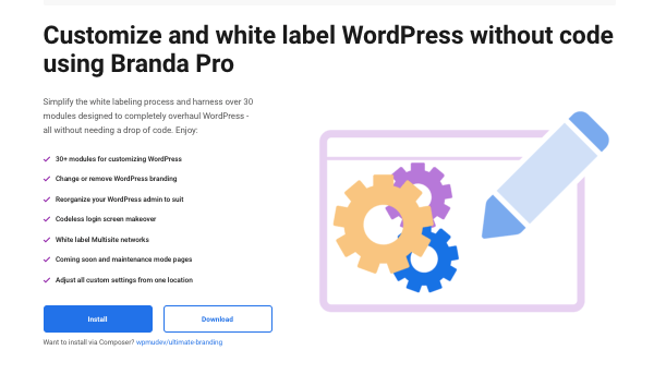 a preview of our WordPress branding and white labeling plugin, Branda