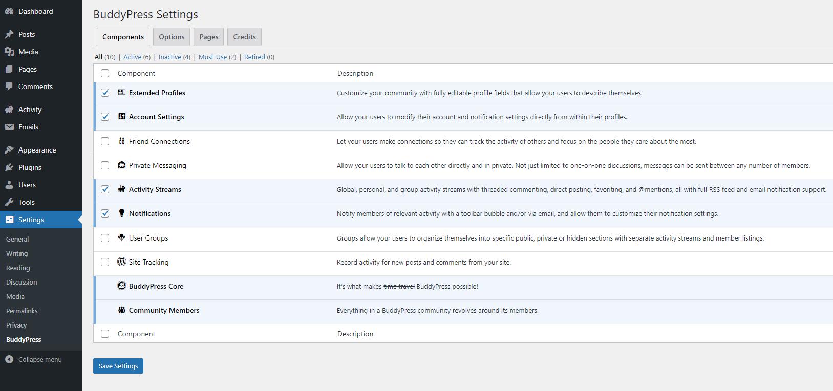 The BuddyPress plugin settings.