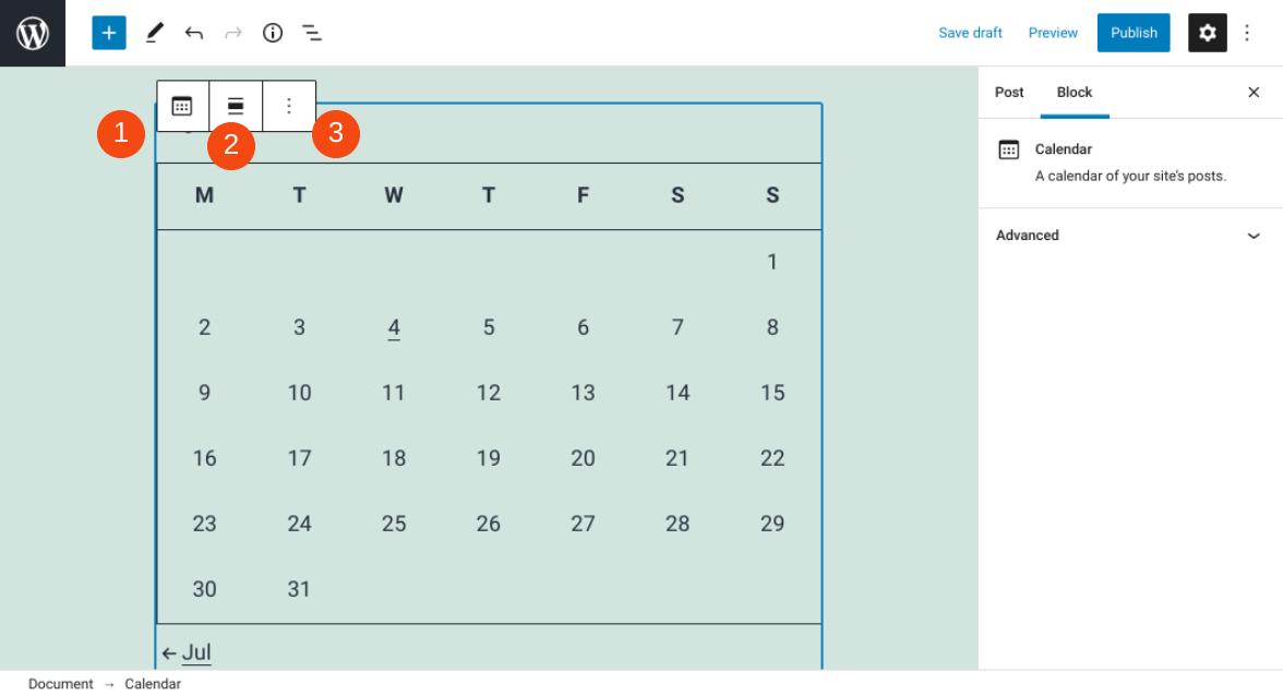 The Calendar Block toolbar.