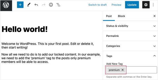 Add the Premium Tag to Locked Posts