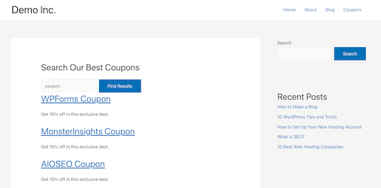 Custom post types search form example