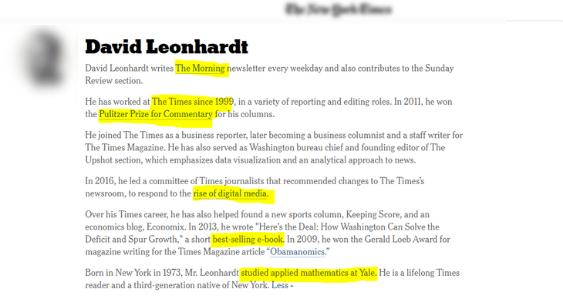 David Leonhart profile page new york times.