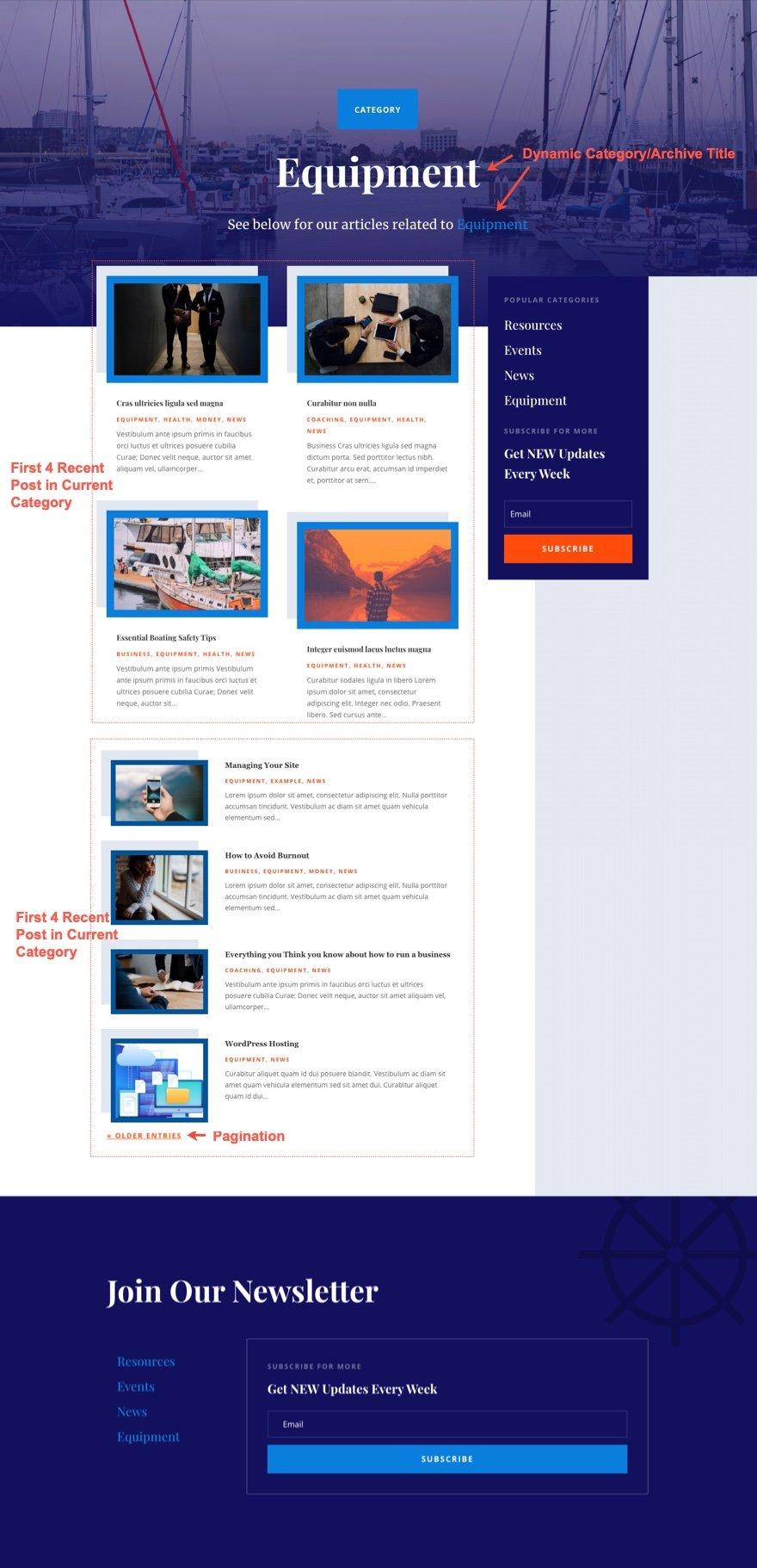 divi marina category page template