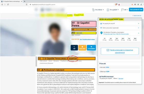 Doctor Gayathri Perera on Top Doctors Website.