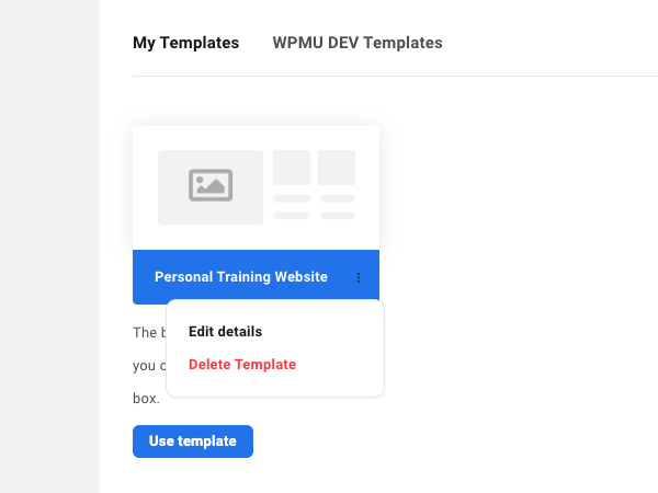 a screen showing how you can edit the details of your new template