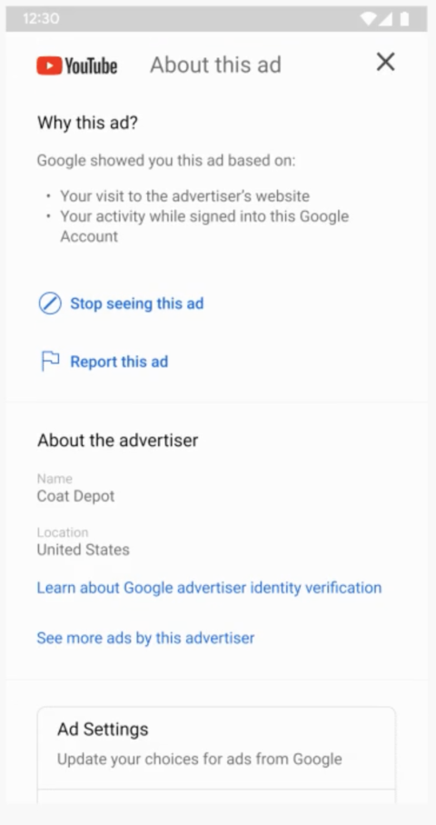 google advertiser pages