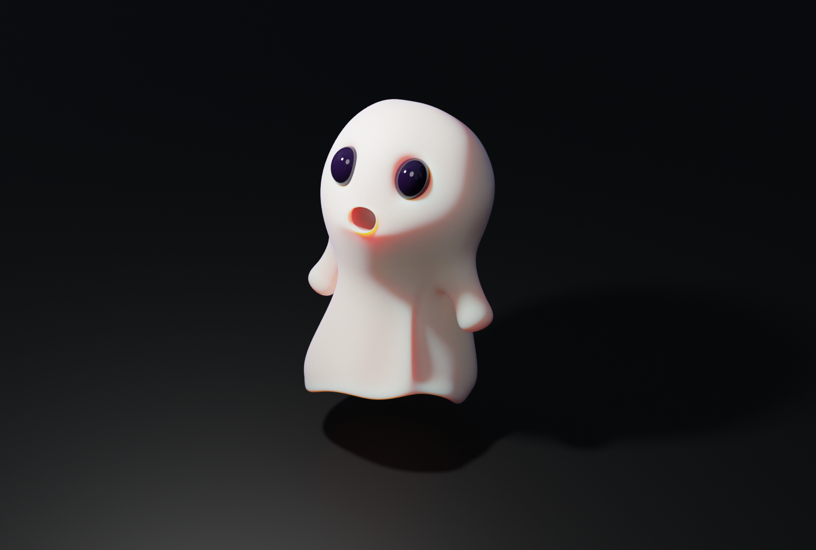 3D render of a scared-looking ghost