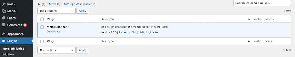 A fresh plugin installed within WordPress.