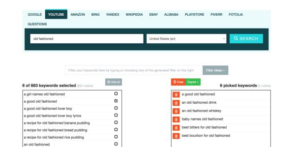 Screenshot of Keyword.io Keyword Tool