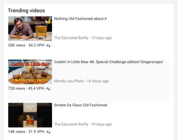 screenshot of trending videos for a keyword in vidIQ