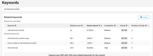 YouTube keyword research: screenshot of vidIQ keywords tool