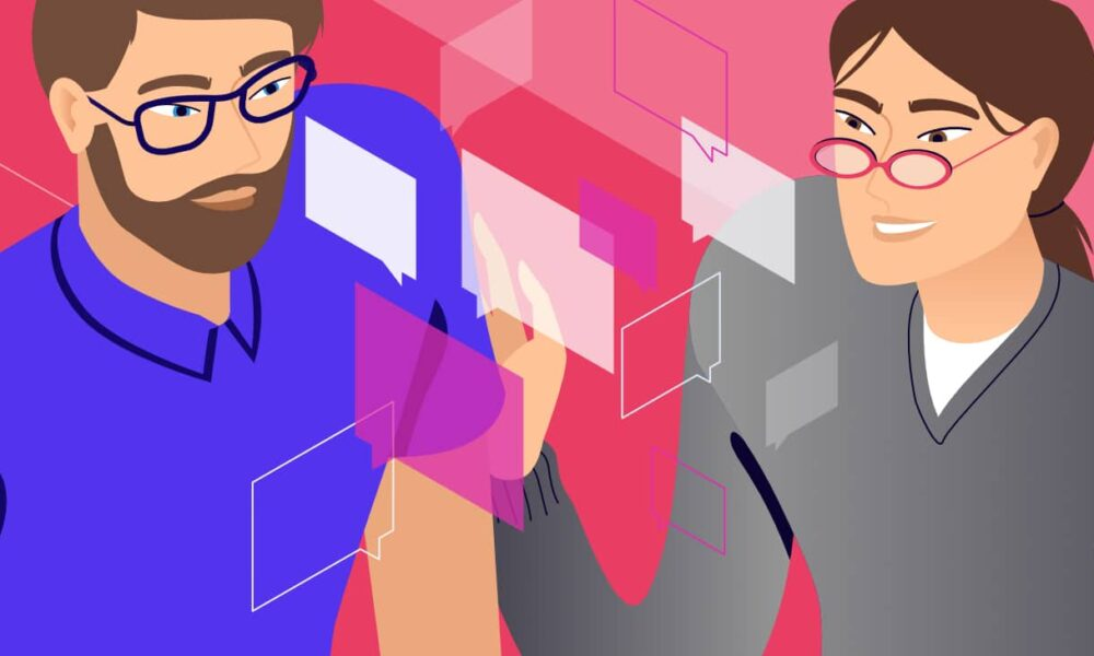 Illustration for Laravel Comments showing two people interacting with a commenting system.