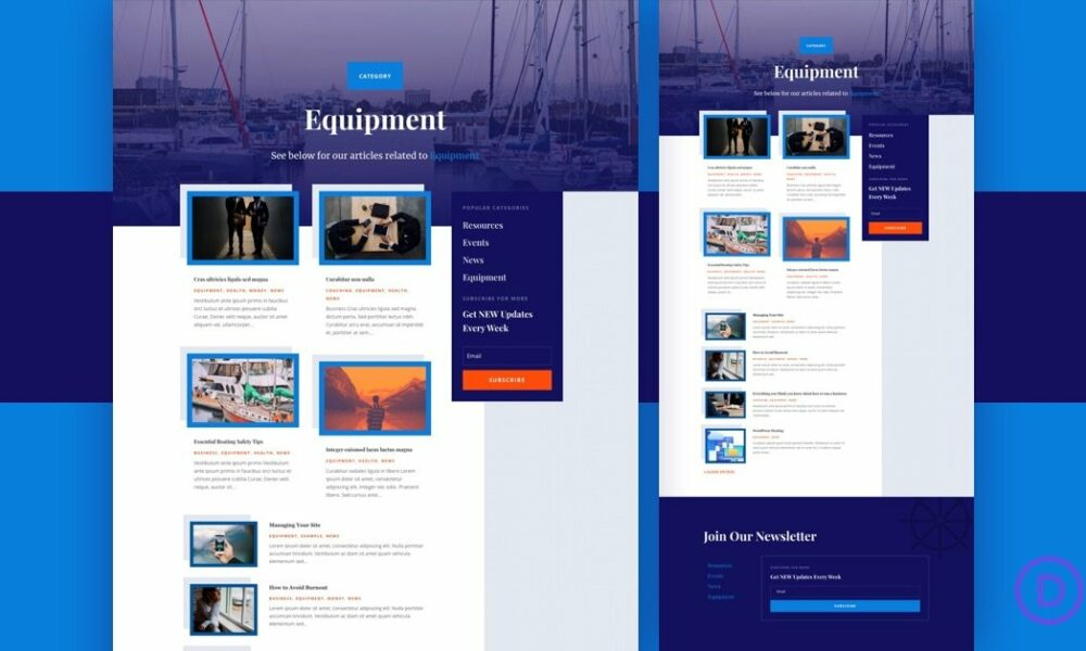Download a FREE Category Page Template for Divi's Marina Layout Pack