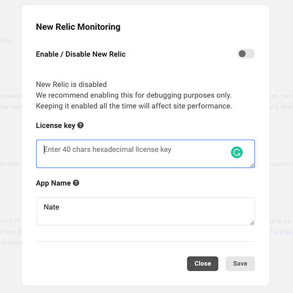 Where you enter a key for New Relic in The Hub.