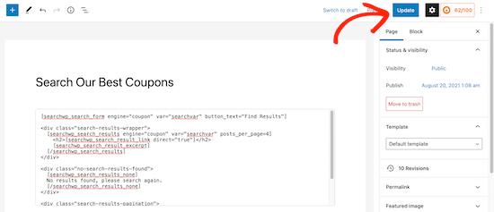 Publish SearchWP shortcodes page