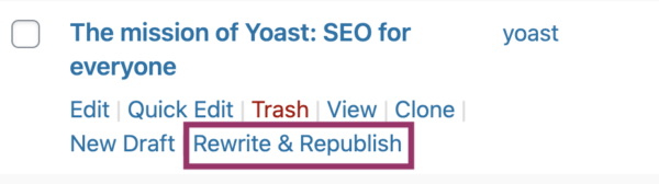 update content with the Yoast Rewrite & Republish tool
