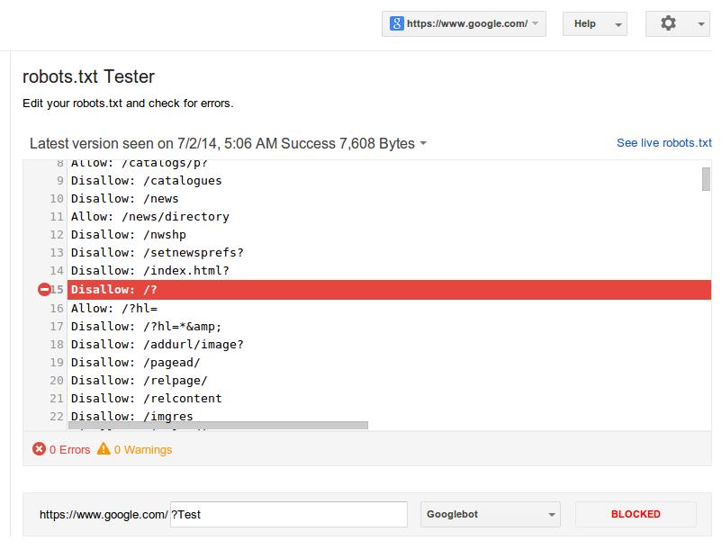 Google Webmaster Robots.txt Testing Tool