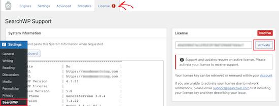 Add SearchWP license key