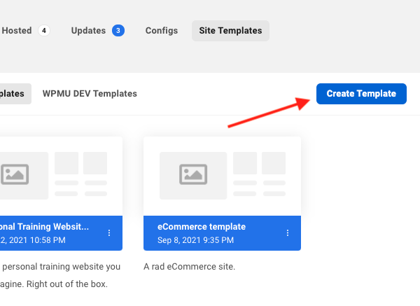 A screen showing how you can get started creating templates