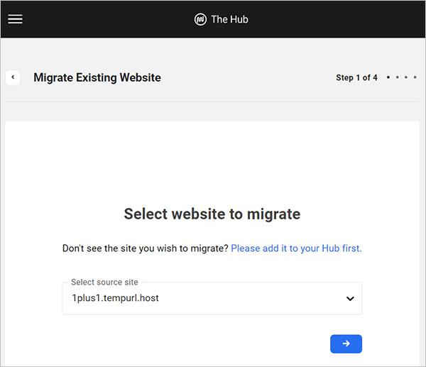 Migrate Existing Website - Step 1 of 4