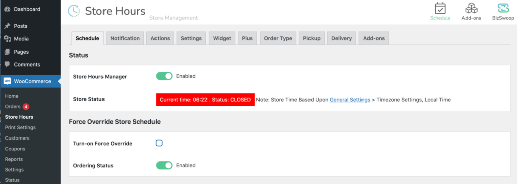 Toggling the ordering status slider.