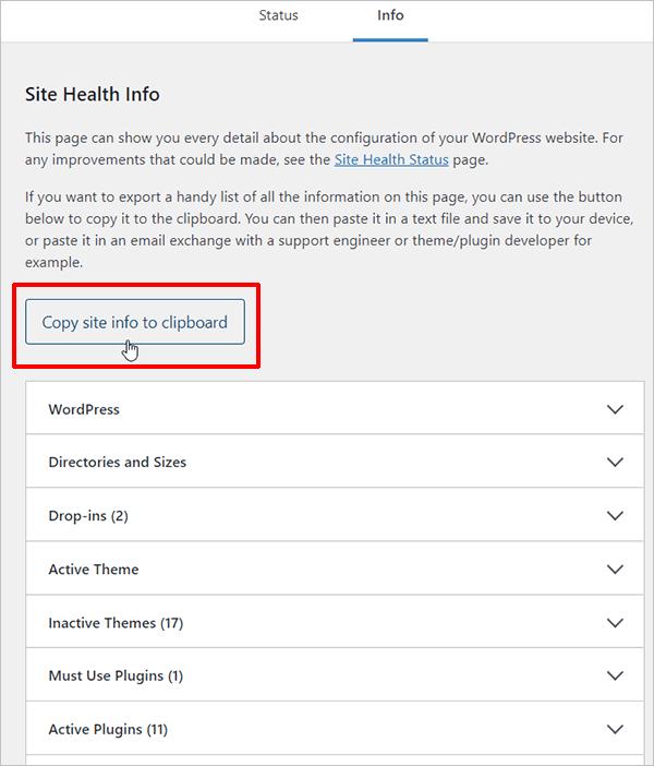 Site Health Info screen
