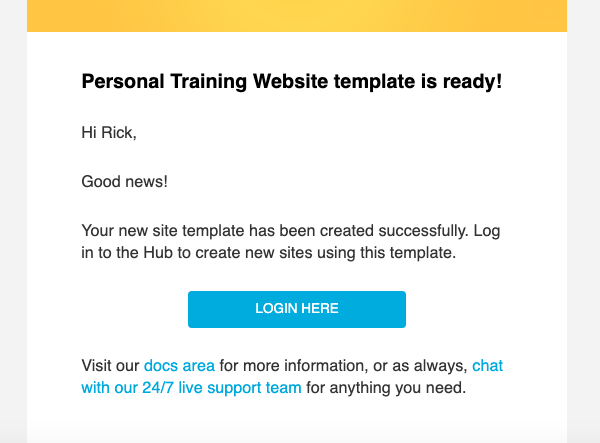 A screen showing the template confirmation email