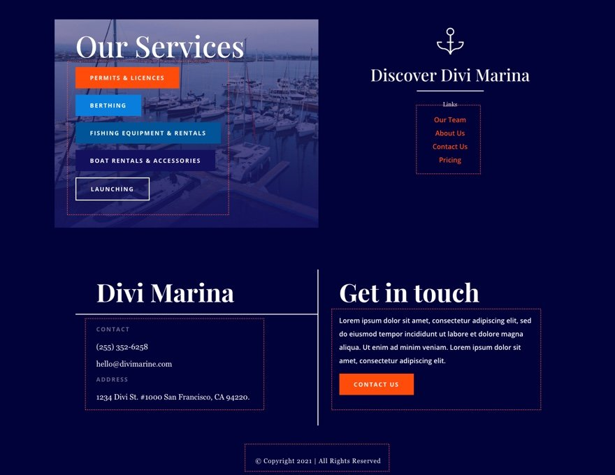 divi marina header footer template