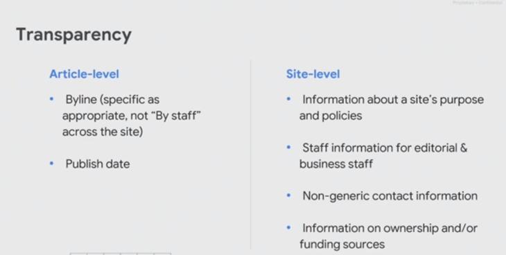 Google news on SEO transparency.