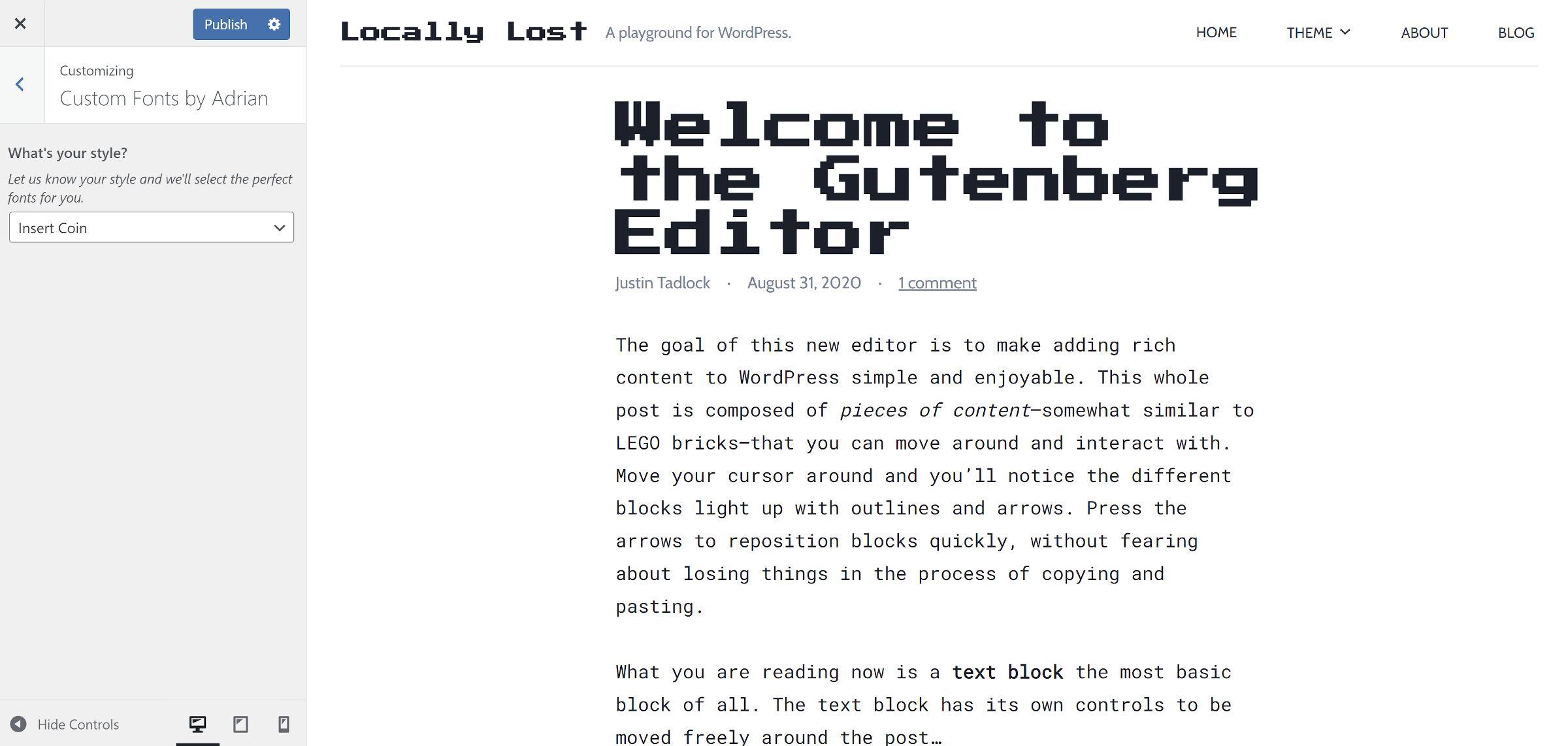 Retro-gaming style font pairing in the WordPress theme customizer.