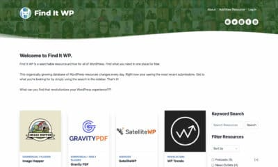 Screenshot of the Find It WP homepage, which lists the most recent WordPress-related resources in a four-column grid.